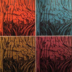 Burl Ensemble, woodcuts, (4) 3'x3'