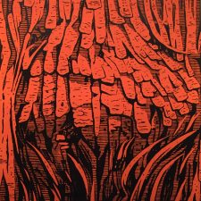 Burl - Orange, 1/3, woodcut, 3'x3'