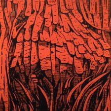 Burl - Orange, 1/3, woodcut, 3'x3'