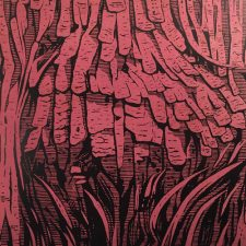 Burl - Red, 3/3, woodcut, 3'x3'