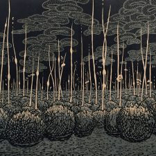 Evolutionary Landscape, A.P. 4, woodcut, 3'x6'