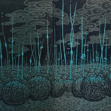 Evolutionary Landscape III var. 5 and var. 1 as diptych, woodcut, (2) 3'x3'