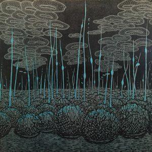 Evolutionary Landscape III, left, var. 5, 1/1, woodcut, 3'x3'