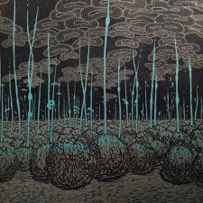 Evolutionary Landscape III, right, var. 1, 1/1, woodcut, 3'x3'