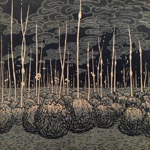 Evolutionary Landscape, sq, right, 1/2, woodcut, 3'x3'