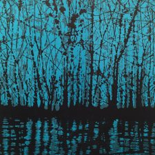 Woodland Landscape VIII, left, var. 5, 1/1, woodcut, 3'x3'