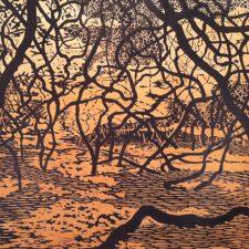 Woodland Landscape II w/ wc, W.P., 2/2, woodcut w/ wc, 3'x6'