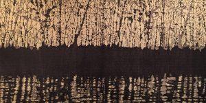 Woodland Landscape III, 9/9, woodcut on tea-soaked paper, 3'x6'