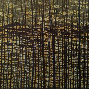Woodland Landscape VII - C Diptych, left, 1/1, woodcut, 3'x3'