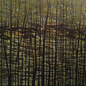Woodland Landscape VII - C Diptych, right, 1/1, woodcut, 3'x3'