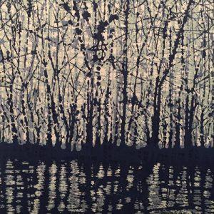 Woodland Landscape VIII Diptych 5, left, 1/1, woodcut, 3'x3'