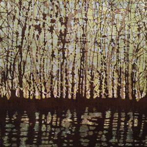 Woodland Landscape VIII - var. 2, right, 1/1, woodcut w/ wc, 3'x3'