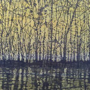 Woodland Landscape VIII, left, T.P. 3, 1/1, woodcut w/ wc, 3'x3'