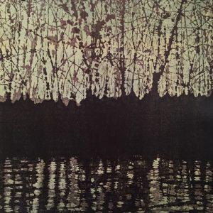 Woodland Landscape Nocturne Diptych I, left, 1/2, woodcut, 3'x3'