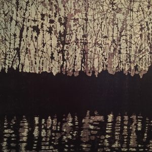 Woodland Landscape Nocturne Diptych I, right, 1/2, woodcut, 3'x3'