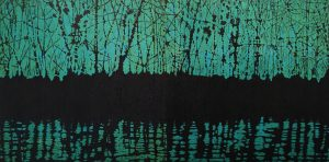 Woodland Reflections Diptych (g/y), 2/2, woodcut, (2) 3'x3'