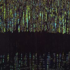 Woodland Reflections (purple/green) Diptych, 1/2, woodcut, (2) 3'x3'
