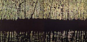 Woodland Reflections - green/yellow, 1/1, woodcut, 3'x6'