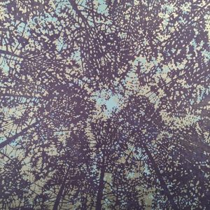 Woodland Skyscape - var. 38, 1/1, woodcut w/ silver ink, 3'x3'